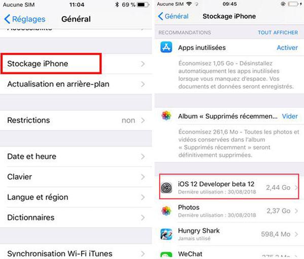 Supprimer la mise à jour logicielle sur iOS