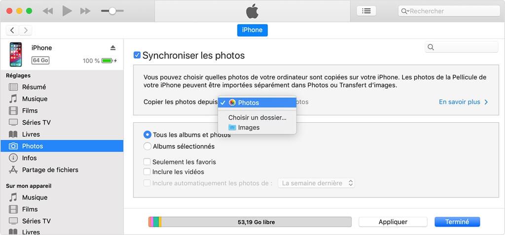 transférer des photos d'un Android vers iPhone avec iTunes