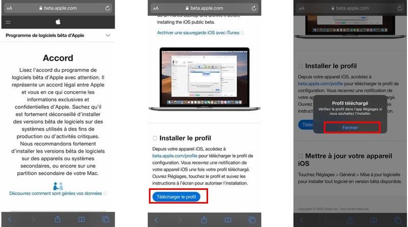Télécharger la version iOS 14 Bêta
