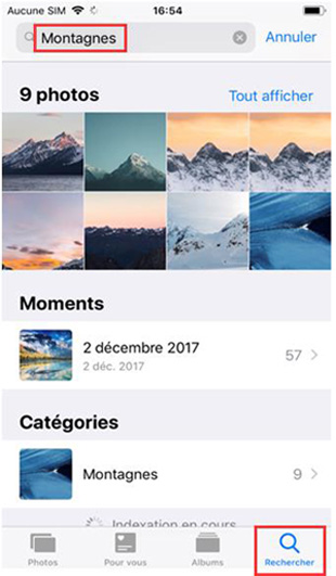 Utiliser la recherche dans l'application Photos