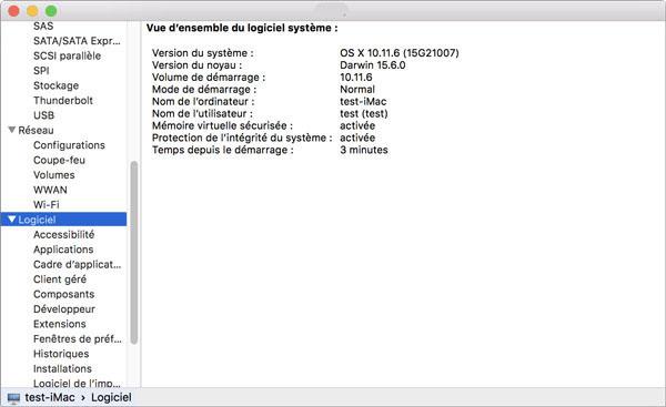 La section « Logiciels » sur Mac