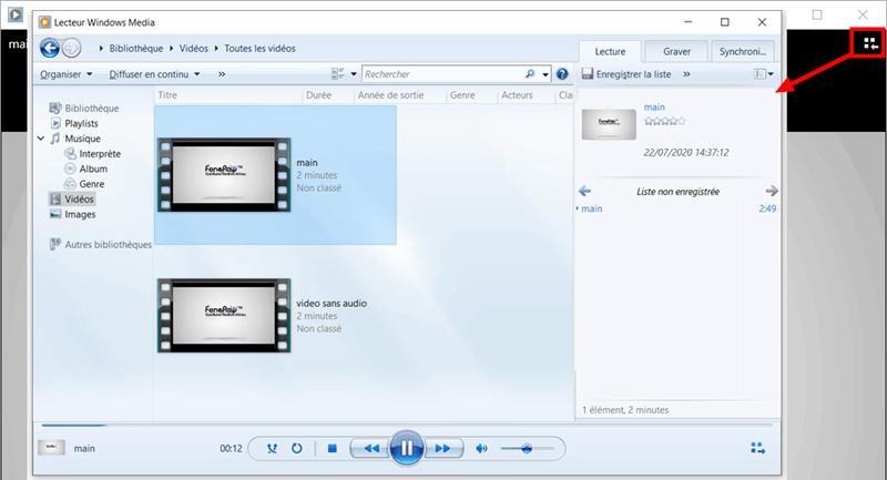 Lire une vidéo avec Lecteur Windows Media