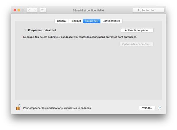 Activer le coupe-feu sur Mac