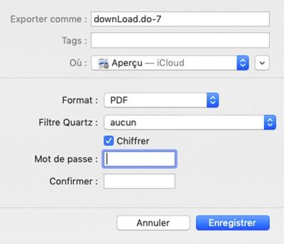 Chiffrer un fichier PDF sur Mac