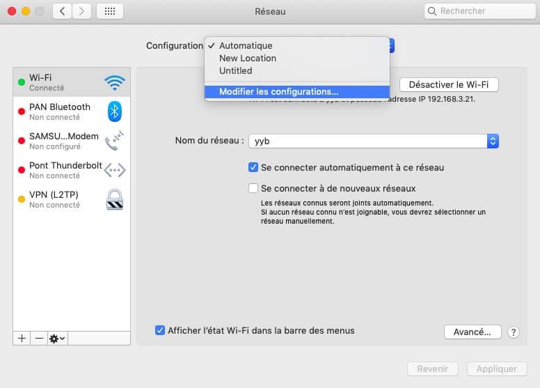 Modifier les configurations de réseau sur Mac