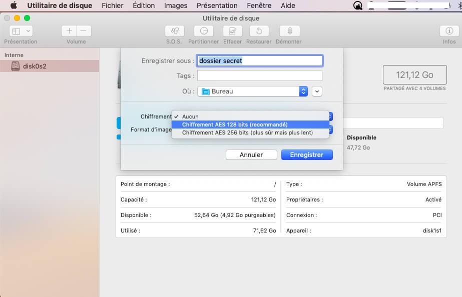 Créer une image protégée par un mot de passe du dossier