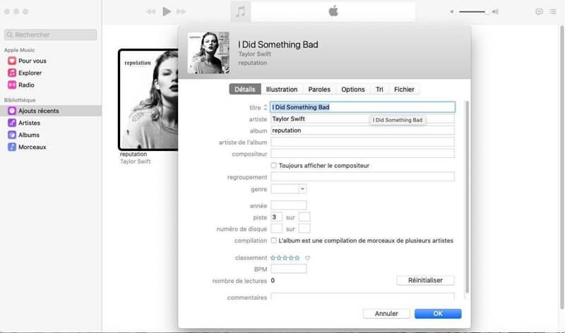 Saisir les métadonnées correctes sur Mac