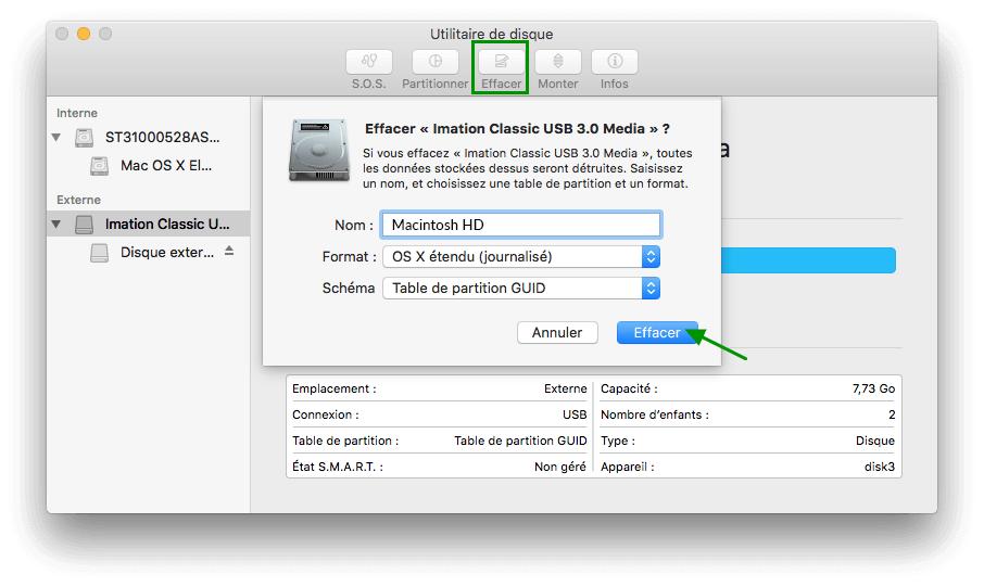 effacer le disque mac