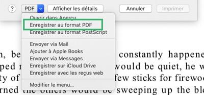 Enregistrer un fichier au format PDF sur Mac