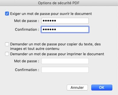 Enregistrer un fichier PDF avec un mot de passe sur Mac
