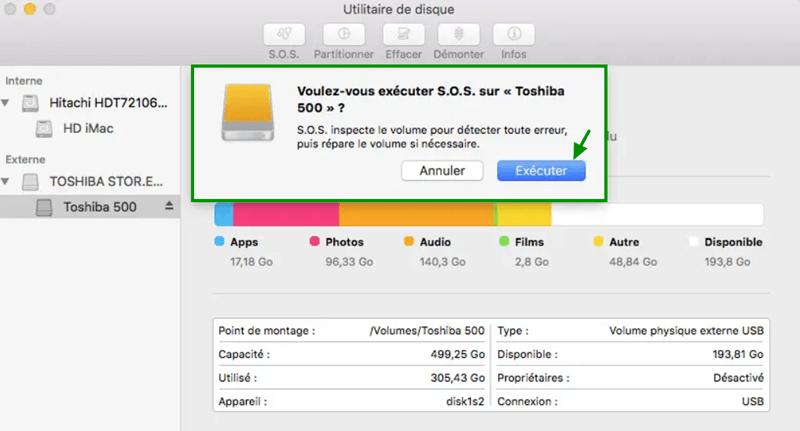 Utilitaire de disque - Exécuter la fonction S.O.S.