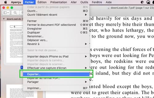 Exporter votre fichier PDF sur Mac