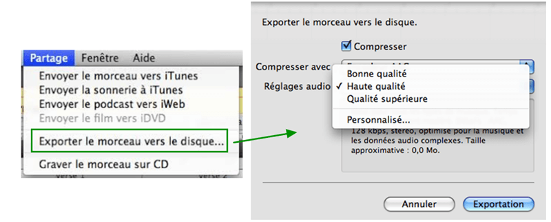 Exporter le morceau vers le disque…