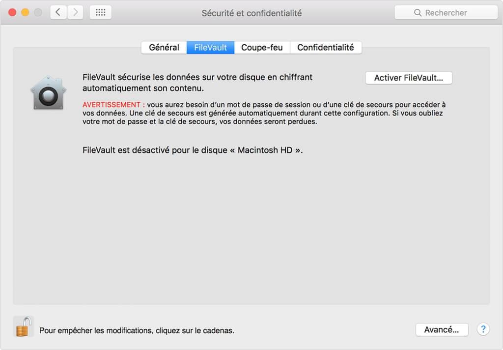 Désactiver le chiffrement FileVault