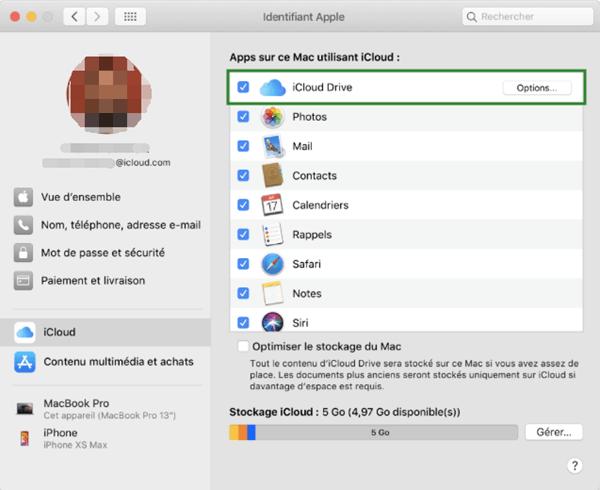 Désactiver la synchronisation de fichiers avec iCloud