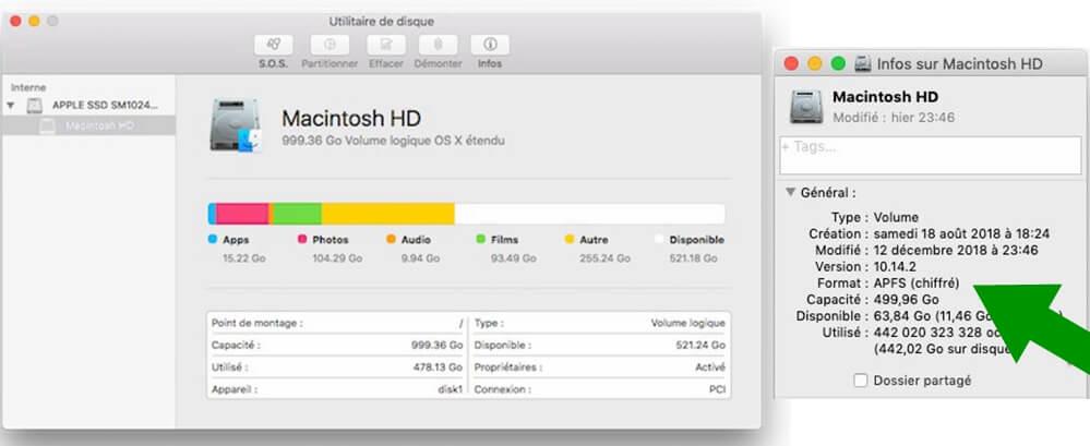 Lire les informations de disque sur Mac