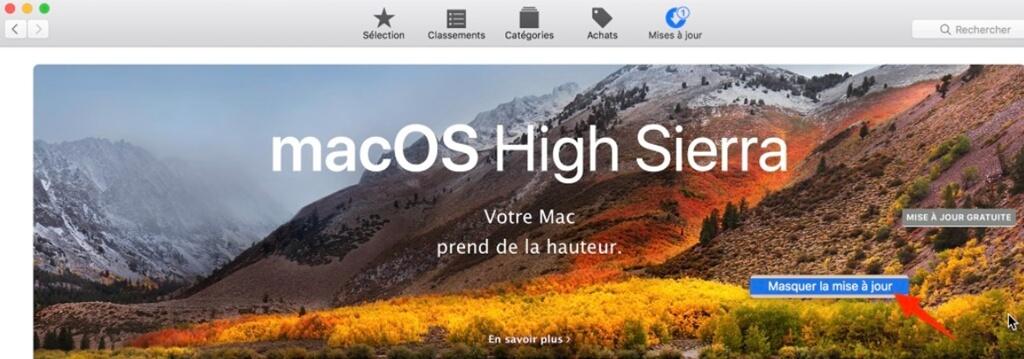Masquer la mise à jour sur Mac