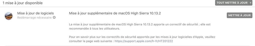 les mises à jour logicielles disponibles sur Mac