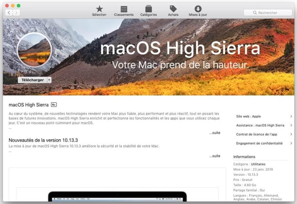 mettre à jour votre système vers macOS High Sierra