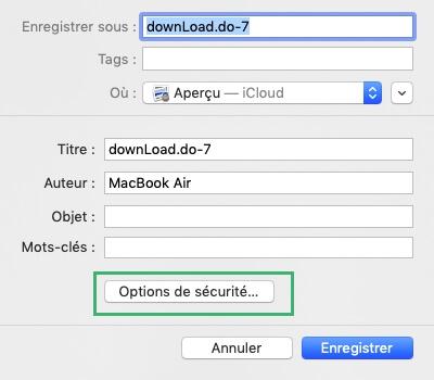 Enregistrer un fichier PDF sur Mac