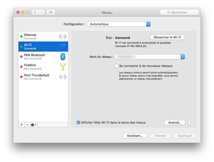 Configurer préférences Wi-Fi sur Mac