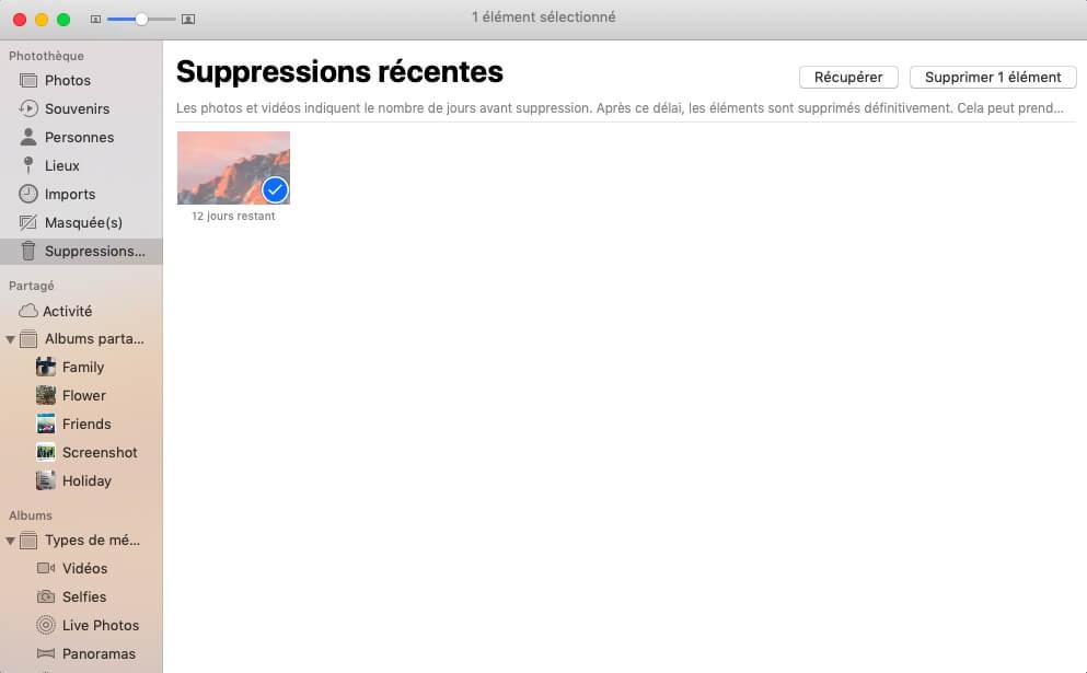Les photos supprimées sur Mac