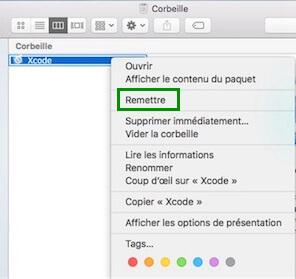 restaurer un fichier à son emplacement d'origine sur Mac