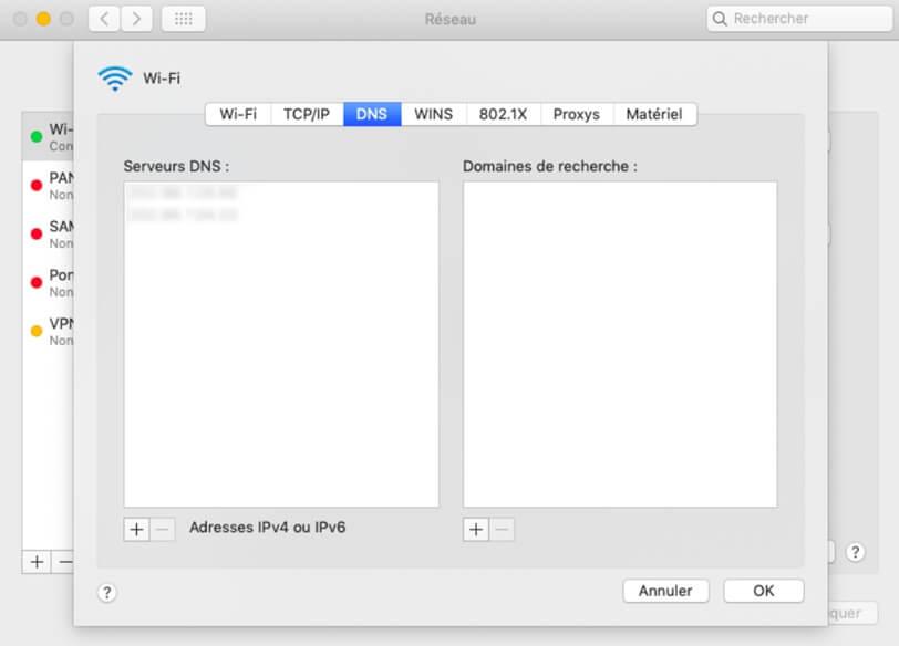 Configurer les serveurs DNS sur Mac