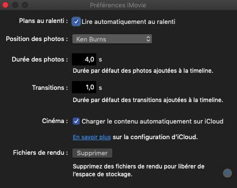 Supprimer les fichiers de rendu d'iMovie sur Mac
