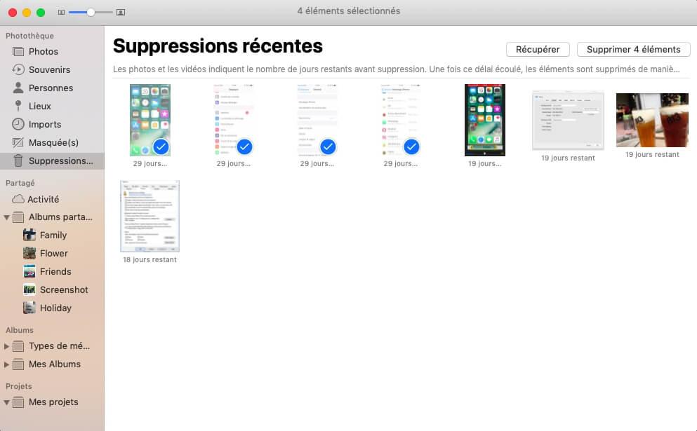 Supprimer des photos sur un Mac