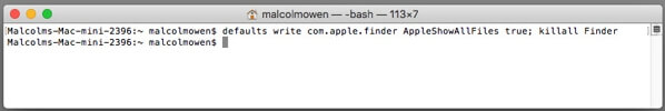 utiliser Terminal à affiche tous les fichiers cachés