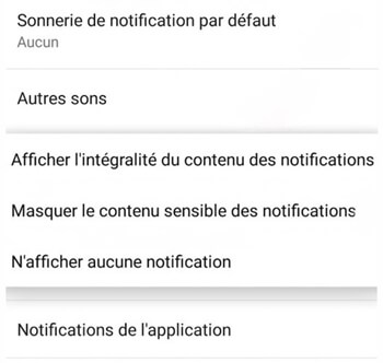 Masquer les notifications Android