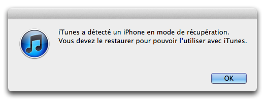 mode recuperation itunes