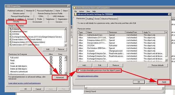 Modifier les paramètres de sécurité de Microsoft Exchange
