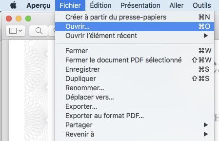 Ouvrir le fichier PDF dans Aperçu