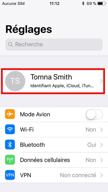 profil de votre identifiant iPhone/iPad