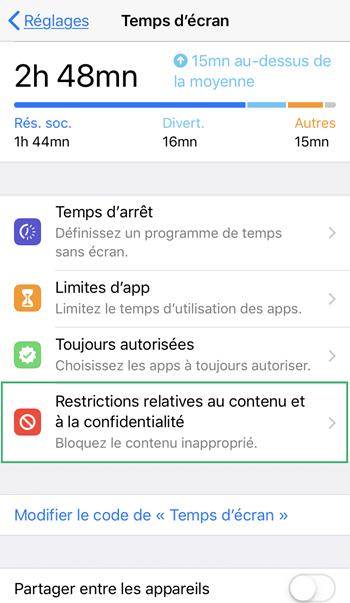 Désactiver les restrictions sur votre iPhone/iPad