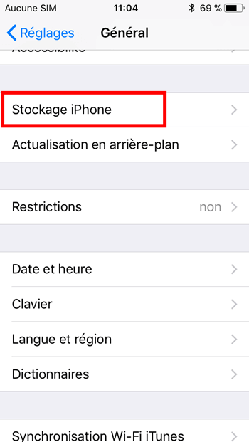 Stockage iPhone/iPad