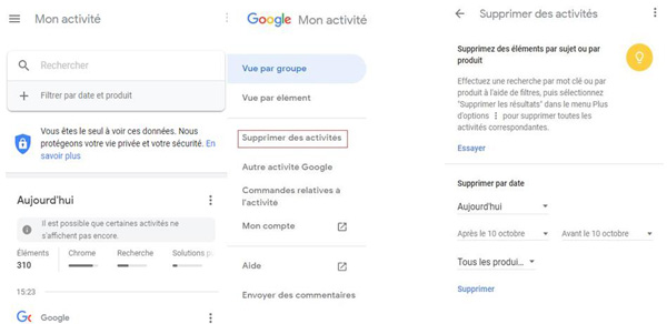 Effacer les activités Google