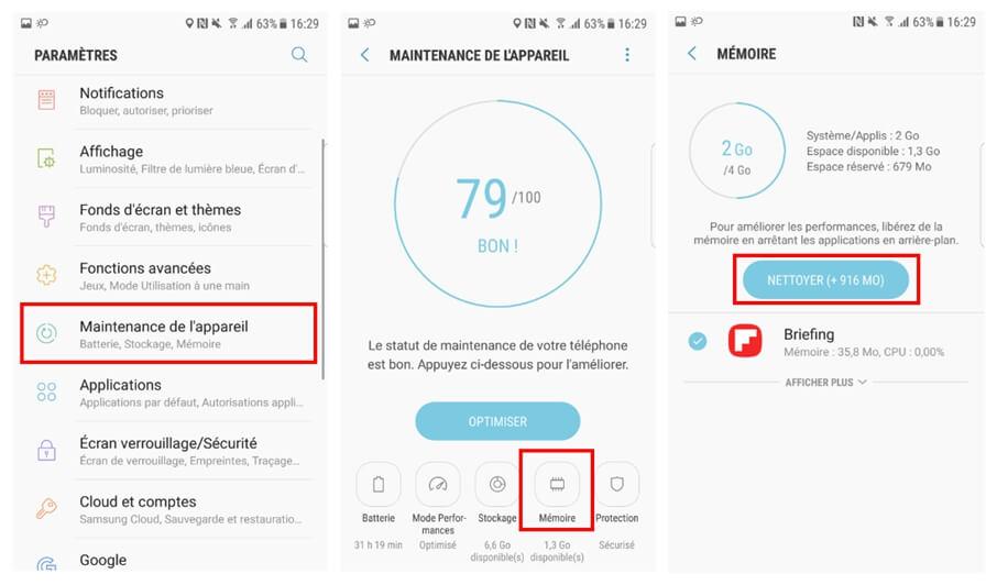 effacer données et cache sur android