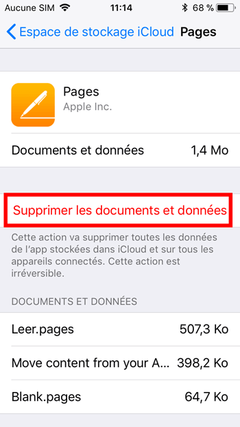 Supprimer documents iPhone/iPad