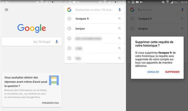 Effacer l'historique de recherches Google