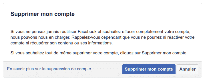 supprimer un compte Facebook de façon permanente