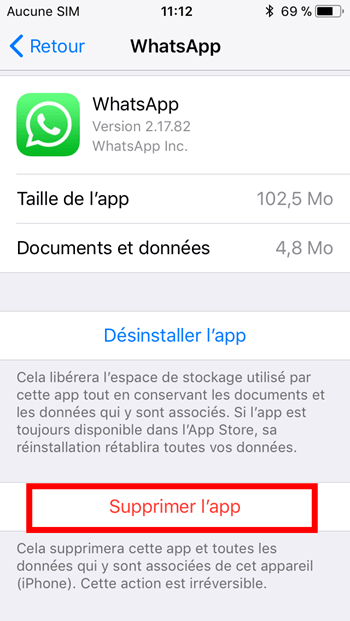 Supprimer iPhone/iPad WhatsApp