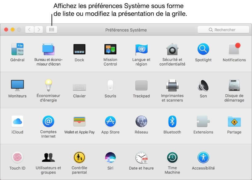 préférence du système mac
