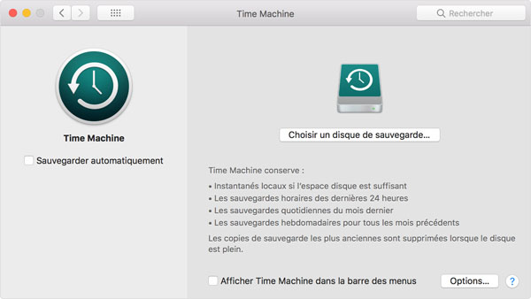 Time Machine - sauvegarde Mac
