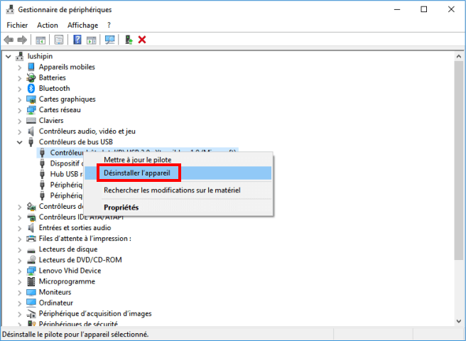 Désinstaller le contrôleur USB sur Windows