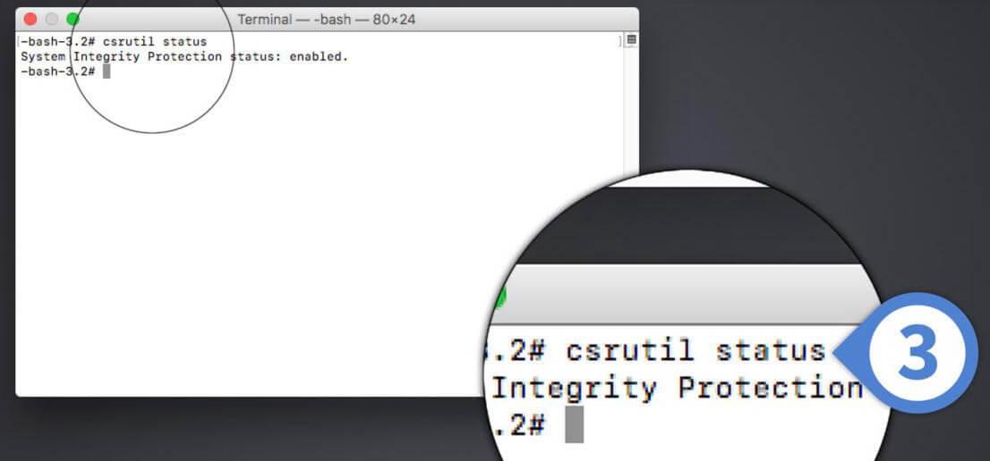 Vérifier la Protection de l'intégrité du système Mac