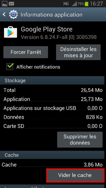 effacer cache android