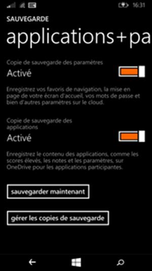 Sauvegardez vos applications et les paramètres de votre téléphone